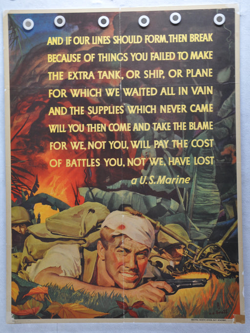 "WWII War Poster ""And if Our Lines Should Form"" US Marine Corp (30 X 40) CC Beall   - TvMovieCards.com"