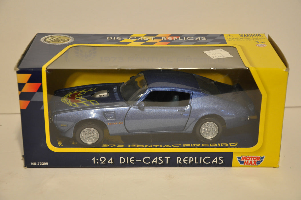 Motor Max Diecast 1/24 Scale 1973 Firebird Trans Am SD-455 Blue #73200   - TvMovieCards.com