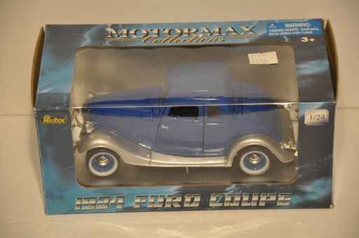 Motor Max Diecast 1/24 Scale 1934 Ford 5 Window Coupe Blue & Silver   - TvMovieCards.com