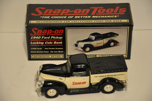 Snap On Tools Diecast Locking Coin Bank 1940 Ford Pickup Truck   - TvMovieCards.com