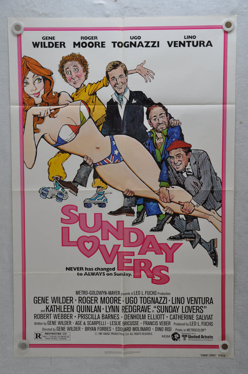 1980 Sunday Lovers Original 1SH Movie Poster 27 x 41 Roger Moore Lino Ventura   - TvMovieCards.com