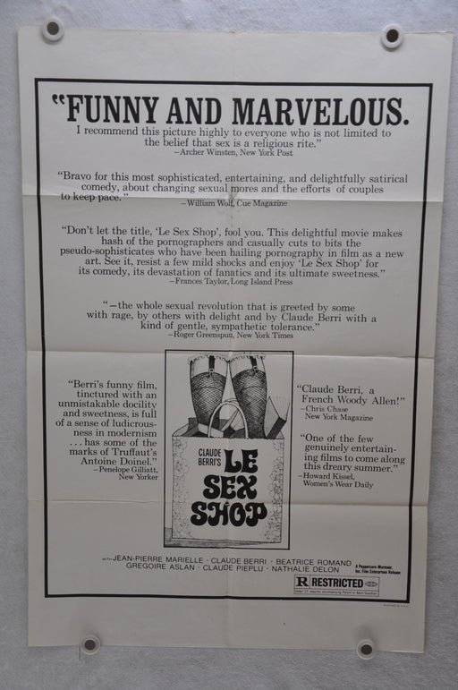 1972 Le Sex Shop Original 1SH Movie Poster 27 x 41 Jean-Pierre Marielle Berto   - TvMovieCards.com