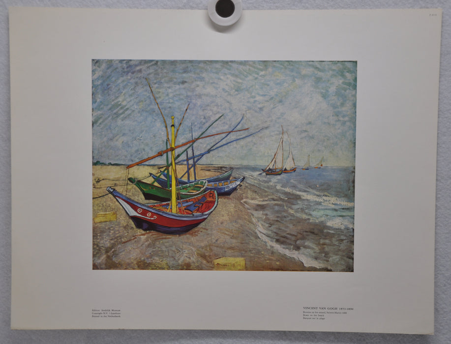 "Vincent Van Gogh ""Boats on the Beach"" Art Print Poster 12 x 16   - TvMovieCards.com"