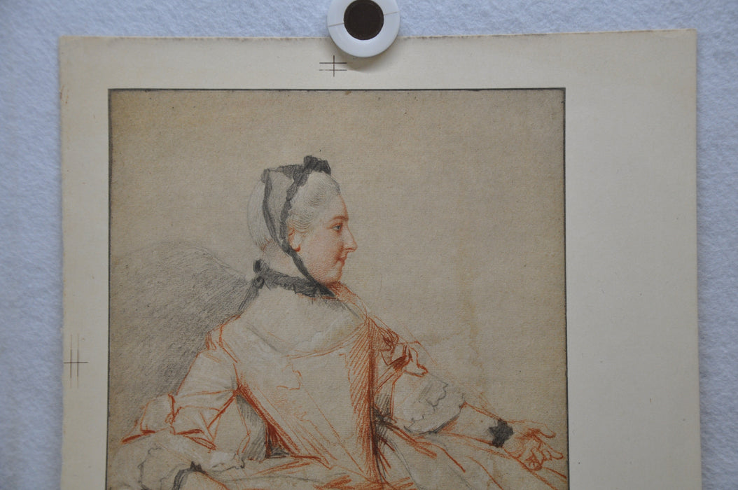 "Jean Etienne Liotard ""Profile Of A Woman"" Lithograph Print 12"" x 13.5""   - TvMovieCards.com"