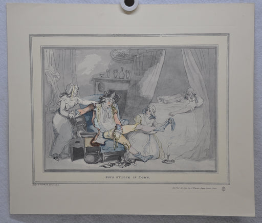 "T Rowlandson ""Four o'clock in the City"" Lithograph Etching Print 16"" x 18.5""   - TvMovieCards.com"