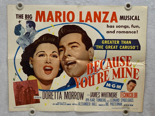 1952 Because You're Mine Original Half Sheet Movie Poster 22 x 28 Mario Lanza   - TvMovieCards.com