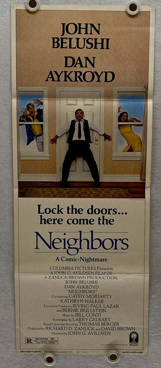 1981 Neighbors Original Insert Movie Poster 14 x 36 John Belushi, Dan Aykroyd, Kathryn Walker   - TvMovieCards.com