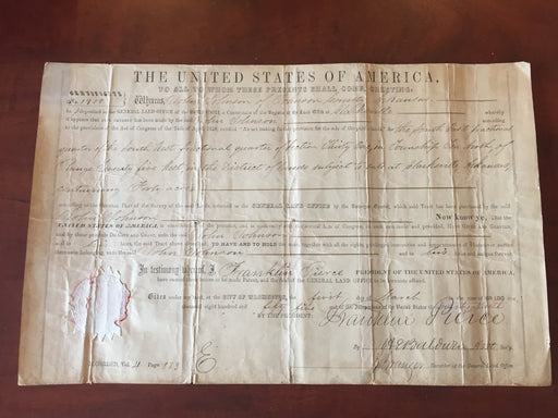 Original Signature Franklin Pierce 14th President of the United States Land Gran   - TvMovieCards.com