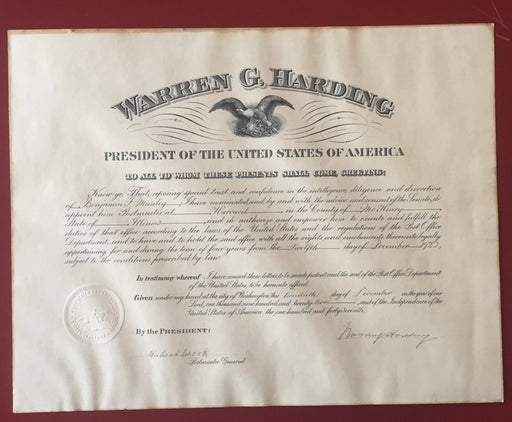 Original Signature Warren G Harding 29th President of the United States   - TvMovieCards.com