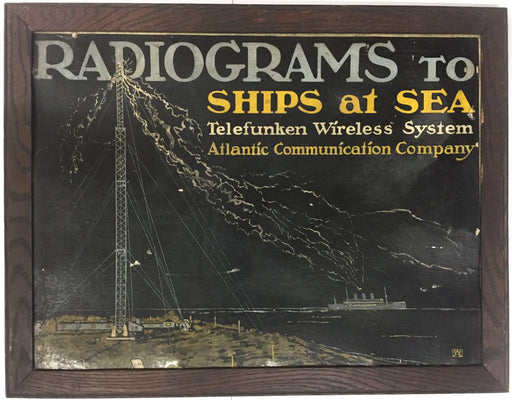 Radiograms Ship to Sea Advertising Cardboard Display Telefunken Wireless System   - TvMovieCards.com