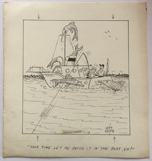 Jeff Keate Time Out Comic Strip Original Art  Fishing (Refuses to Fight)   - TvMovieCards.com