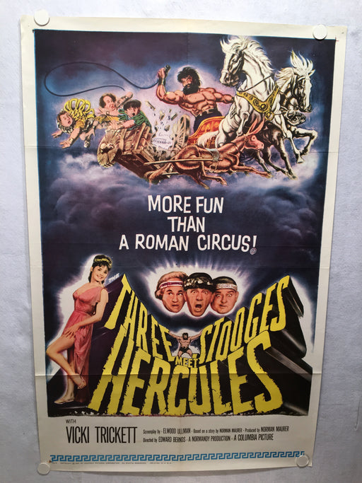 Three Stooges Meet Hercules 1961 1SH 1 Sheet Movie Poster 27x41 Moe Howard   - TvMovieCards.com