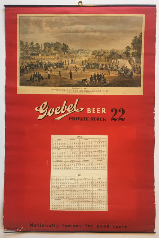 Goebel Beer 22 Advertising Store Display Poster Civil War Calendar 1951   - TvMovieCards.com