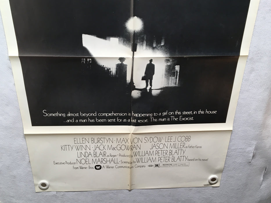 1973 The Exorcist Original Movie Poster 27 x 41 Black and White Version Folded   - TvMovieCards.com