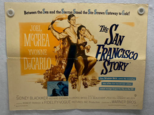 1952 The San Francisco Story Half Sheet Movie Poster 22 x 28 Joel McCrea   - TvMovieCards.com