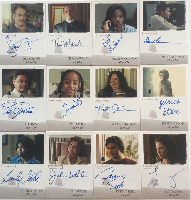 12 Different Six Feet Under Seasons 1 & 2 Autograph cards lot  Taylor Sisto Ross   - TvMovieCards.com