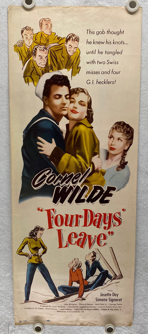 1950 Four Days Leave Insert Movie Poster 14x36 Cornel Wilde, Josette Day   - TvMovieCards.com
