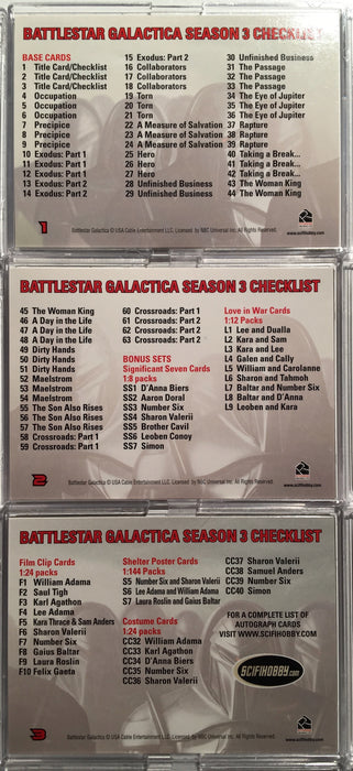 Battlestar Galactica Season Three Base Card Set 63 Cards   - TvMovieCards.com