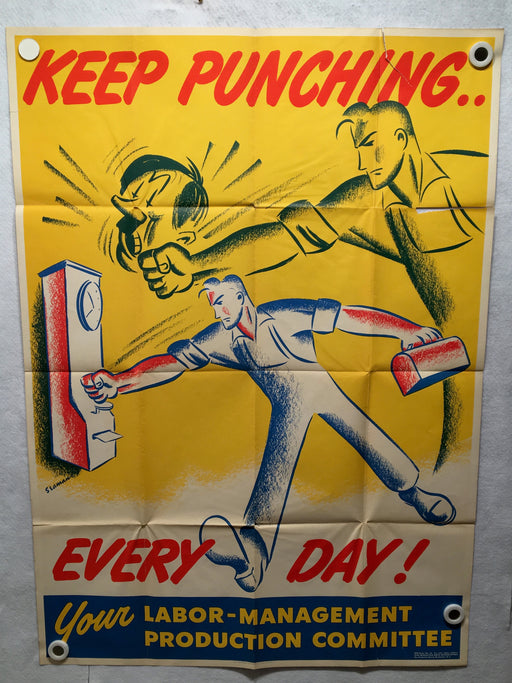 "Keep Punching Everyday! Poster World War 2 II WW2 Labor (28"" X 40"") 1943   - TvMovieCards.com"