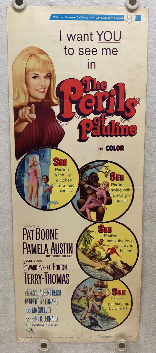1967 The Perils of Pauline Insert 14x36 Movie Poster Pat Boone, Terry-Thomas   - TvMovieCards.com