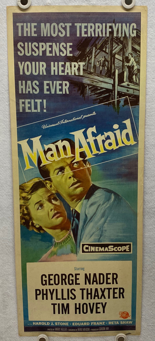1957 Man Afraid Insert 14x36 Movie Poster George Nader Phyllis Thaxter Tim Hovey   - TvMovieCards.com
