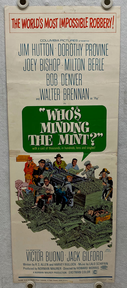 1967 Who's Minding the Mint? Insert 14 x 36 Movie Poster Jim Hutton   - TvMovieCards.com