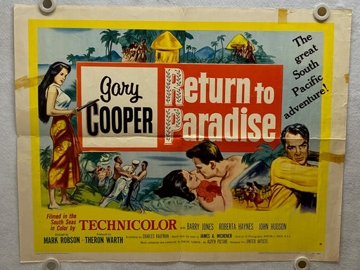 1953 Return to Paradise Half Sheet Movie Poster 22x28 Gary Cooper, Barry Jones   - TvMovieCards.com