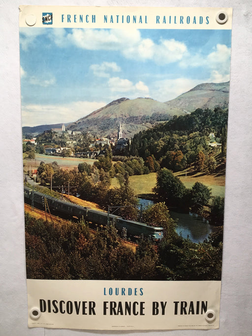 Original 1960 Discover France By Train - French Travel Poster - Lourdes   - TvMovieCards.com