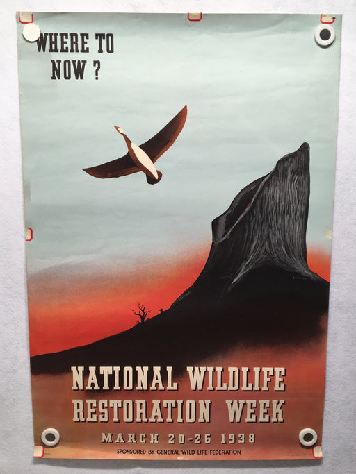 Original March 1938 American National Wildlife Restoration Week Travel Poster   - TvMovieCards.com
