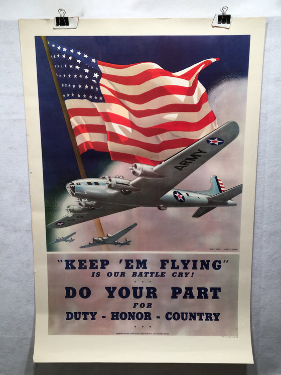 "World War II ""Keep 'Em Flying."" Propaganda Poster (25"" X 38"")"