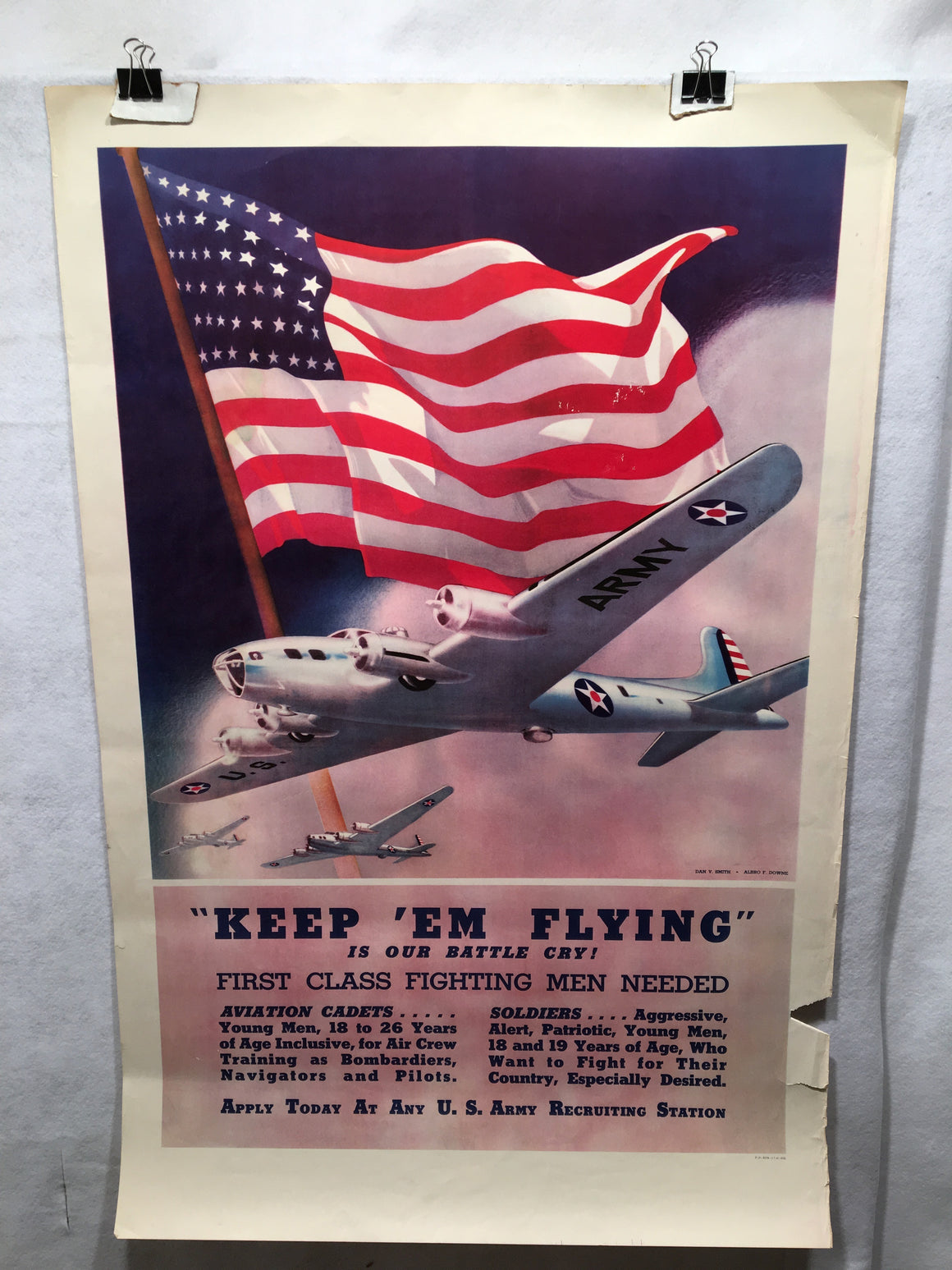 "World War II ""Keep 'Em Flying."" Army Recruitment Poster (25"" X 38"") WWII"