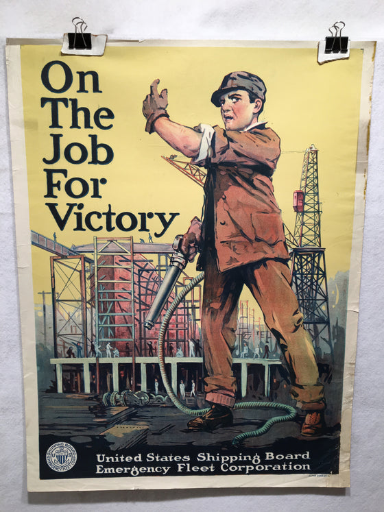 "World War I ""On the Job For Victory"" WWI Merchant Marine Propaganda Poster 1917"