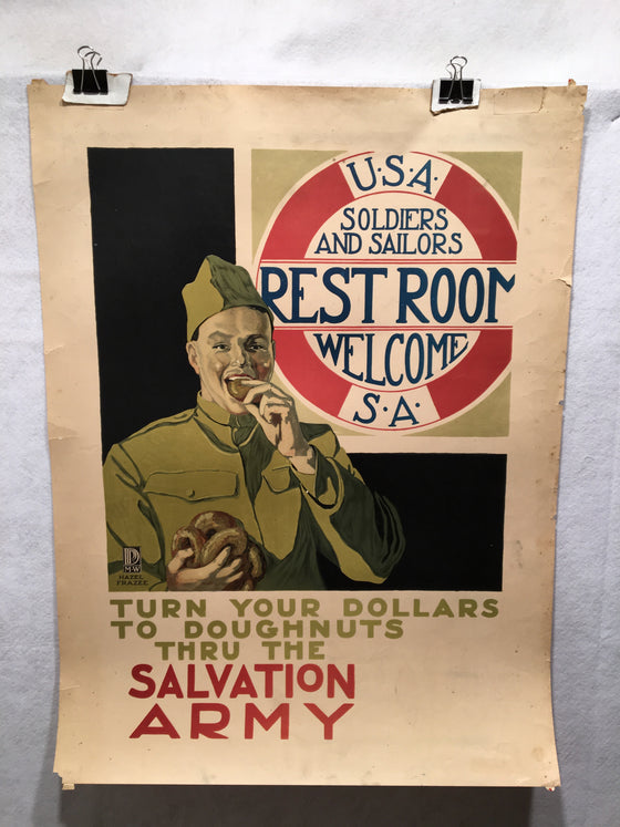 "WWI ""Turn Your Dollars To Donuts Thru The Salvation Army"" War Poster 1918"