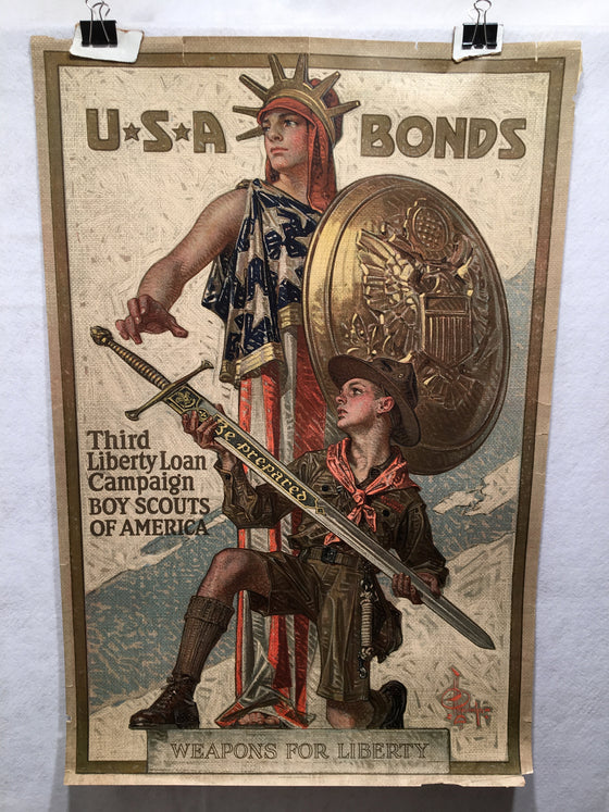 WW1 Third Liberty Loan Poster Weapons for Liberty (20 X 30) Boy Scouts USA Bonds