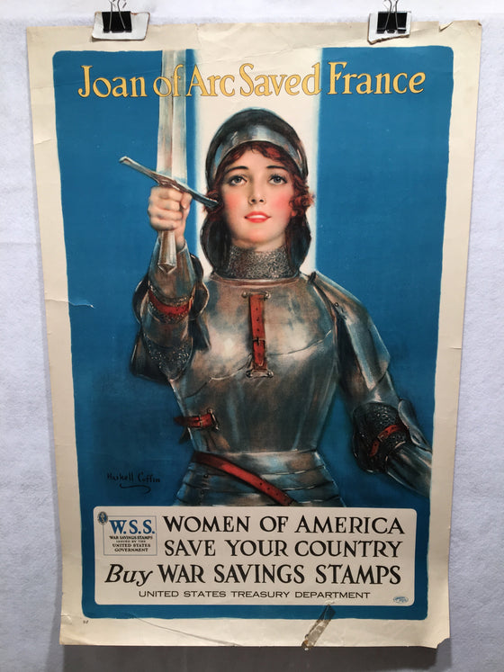 "World War I ""Joan of Arc Saved France"" Propaganda War Poster (20"" X 30"")"