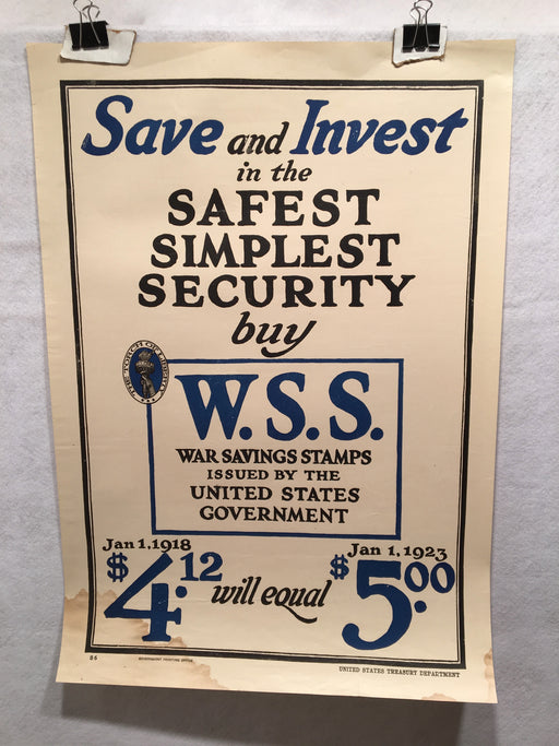 "WW1 ""Save and Invest"" WSS War Savings Stamps Home Front Poster (17"" X 24"") 1918   - TvMovieCards.com"