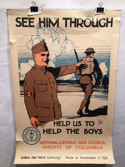 "WW1 ""See Him Through"" National Catholic War Council Poster (20"" X 30"") 1918   - TvMovieCards.com"