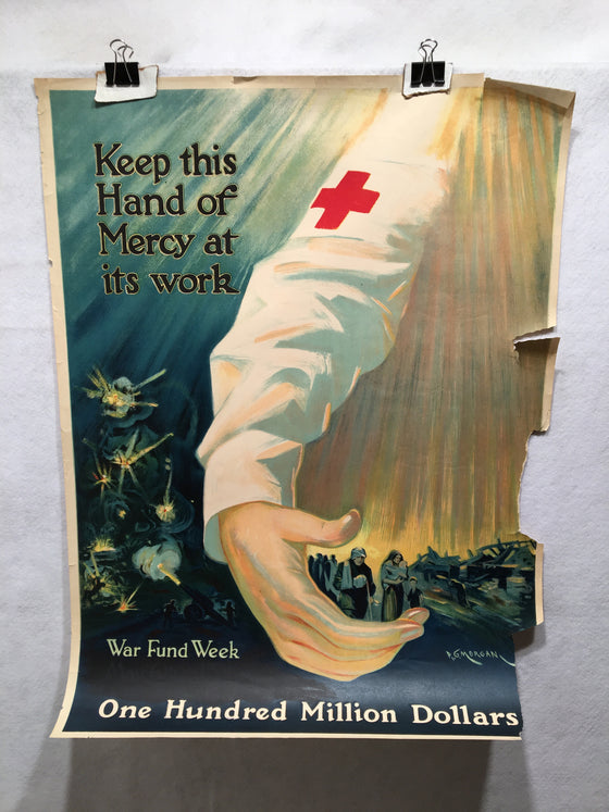 "WW1 ""Keep This Hand of Mercy as its Work"" Red Cross Poster (20"" X 27"") 1918"