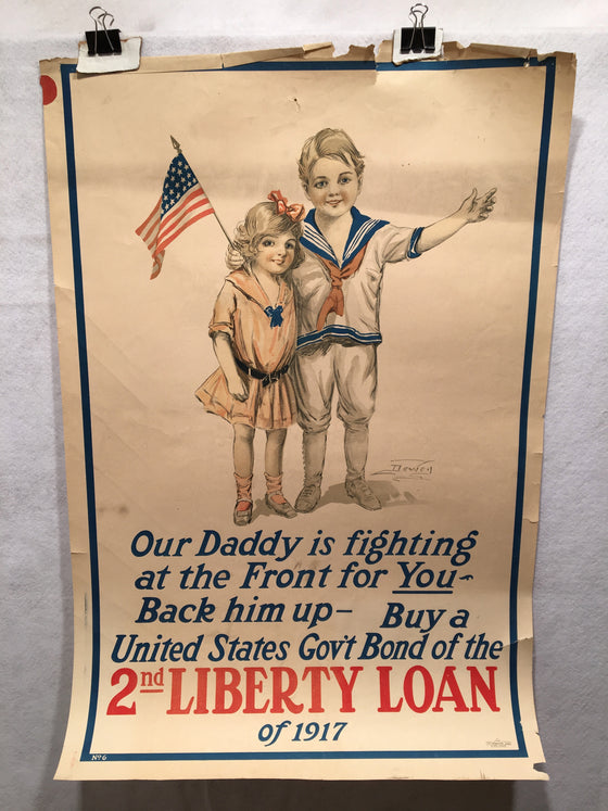 "WW1 ""Our Daddy is Fighting at the Front"" 2nd Liberty Loan Poster (20"" X 30"")"
