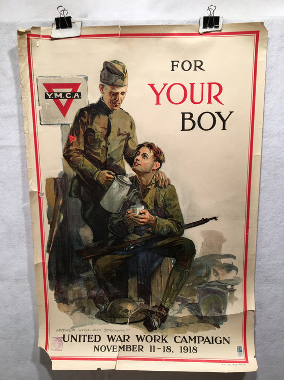 "WW1 ""For Your Boy"" YMCA World War I Propaganda Poster (20"" X 30"")"