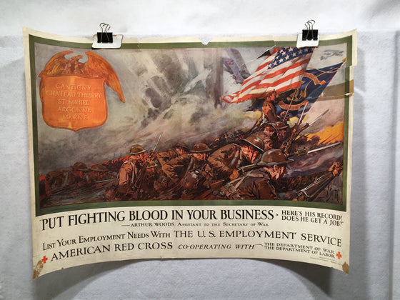 "WW1 ""Put Fighting Blood in Your Business"" Propaganda Poster (19"" X 28"") 1918"