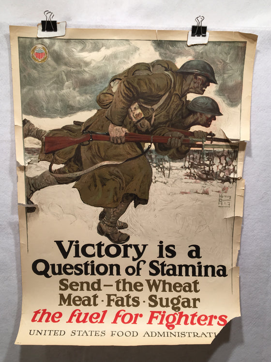 "WW1 ""Victory is a Question of Stamina"" Propaganda Poster (21"" X 29"") 1917"