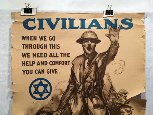 """Civilians When We Go Through This"" Jewish Welfare Propaganda Poster (22"" X 32"")   - TvMovieCards.com"