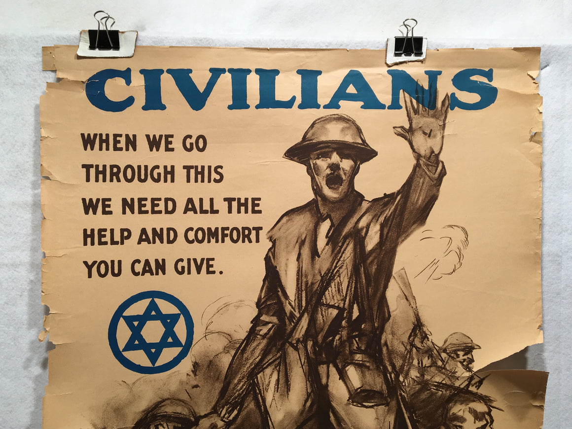 """Civilians When We Go Through This"" Jewish Welfare Propaganda Poster (22"" X 32"")"