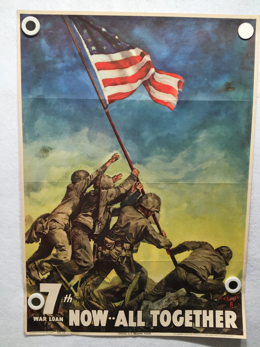 Original WWII 1945 Now All Together Iwo Jima Flag Raising 7th War Loan Poster   - TvMovieCards.com