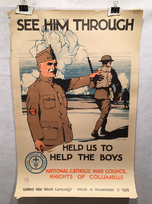"1918 WW1 ""See Him Through"" National Catholic War Council Poster (20"" X 30"")   - TvMovieCards.com"