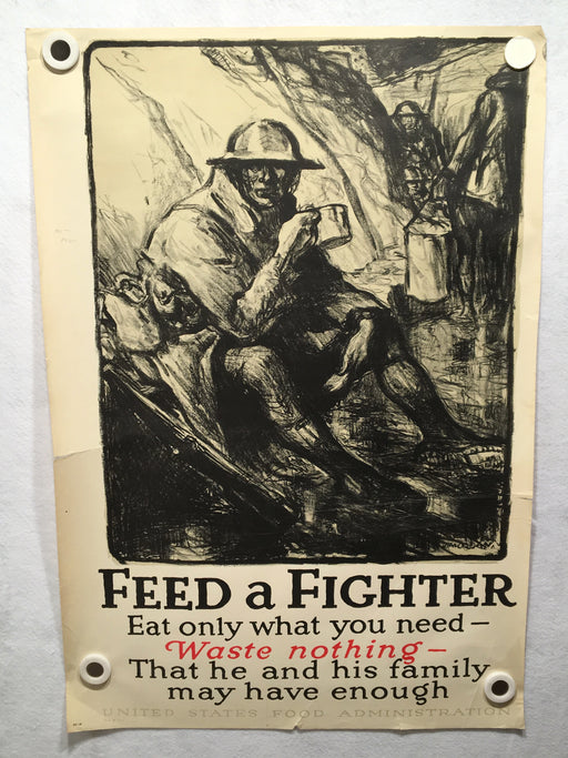 "Original ""Feed a Fighter"" WWI War Propaganda Poster 20 x 29 Food Administration   - TvMovieCards.com"