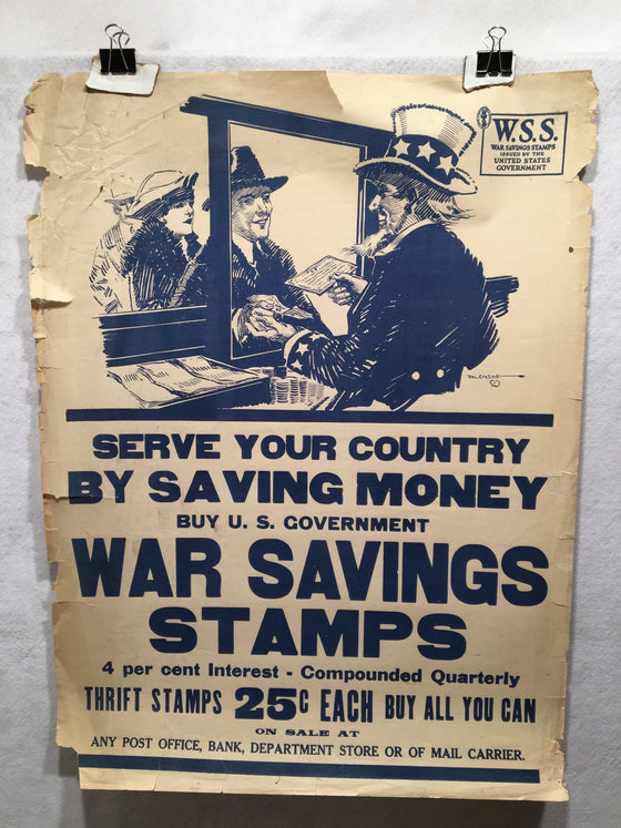 "1918 WW1 ""Serve Your Country by Saving Money"" Propaganda Poster (21"" X 28"")"