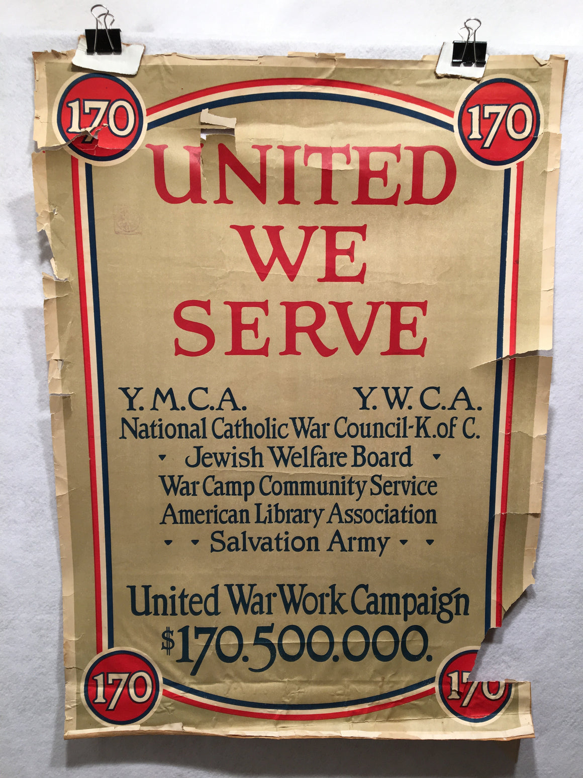 "WW1 ""United We Serve"" United War Work Campaign Propaganda Poster (20"" X 28"")"