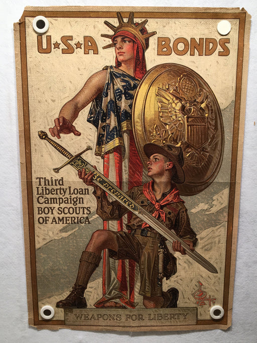 WW1 Third Liberty Loan Poster Weapons for Liberty (20 X 30) Boy Scouts USA Bonds   - TvMovieCards.com